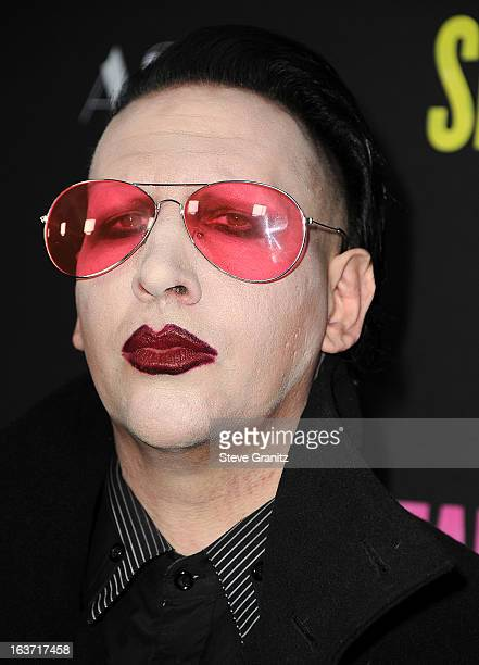 Singer Marilyn Manson attends the 'Spring Breakers' Los Angeles Premiere at ArcLight Hollywood on March 14 2013 in Hollywood California