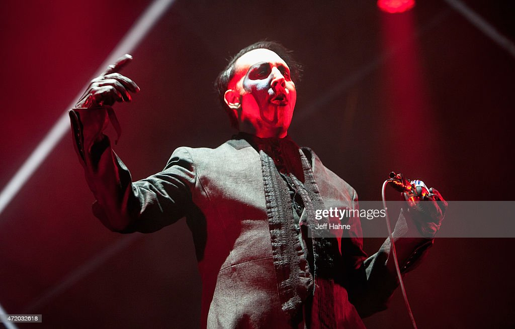 Singer Marilyn Manson performs during day 1 of the Carolina Rebellion at Charlotte Motor Speedway on May 2 2015 in Charlotte North Carolina