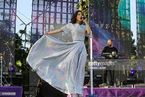 Singer Marina and The Diamonds performs at the Coachella Valley Music and Arts Festival at The Empire Polo Club on April 19 2015 in Indio California