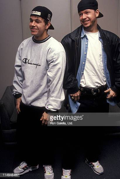 Singer Mark Wahlberg and singer Donnie Wahlberg of New Kids on the Block visit 'The Joan Rivers Show' on December 2 1992 at CBS Broadcast Center in...