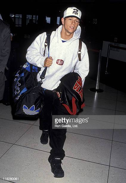 Singer Mark Wahlberg arrives from New York City on March 22 1993 at Los Angeles International Airport in Los Angeles California