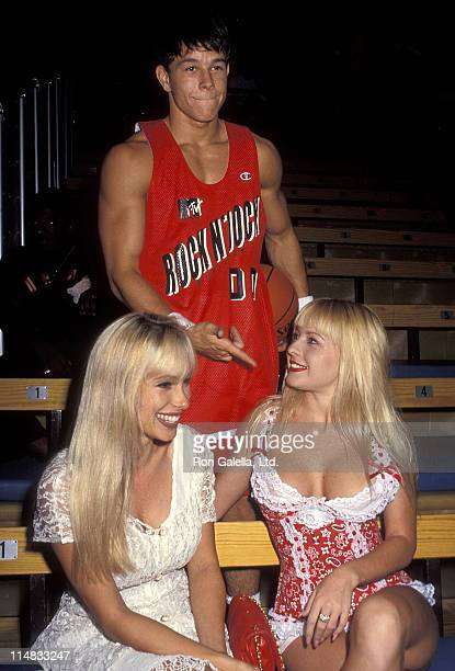 Singer Mark Wahlberg model Lene and model Savannah attend MTV's Second Annual Rock N' Jock BBall Jam on September 20 1992 at the Pauley Pavilion UCLA...