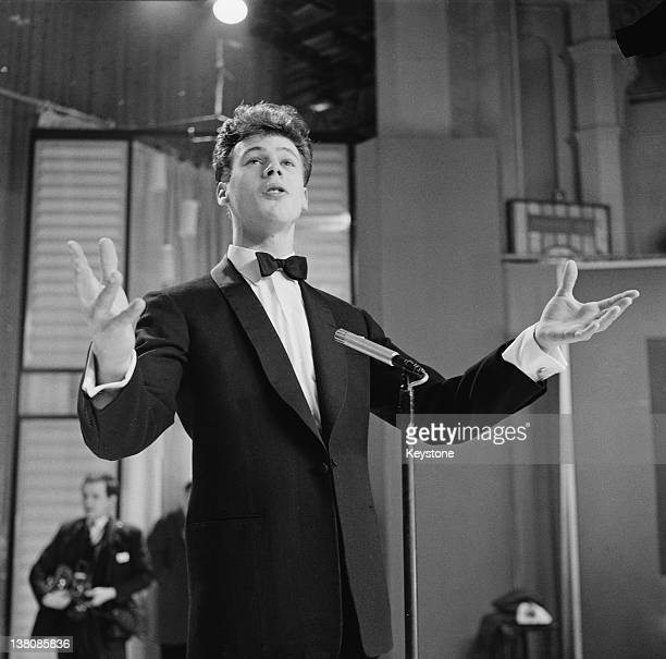 Singer Mark Wynter during a rehearsal for the Eurovision Song Contest at the BBC Television Centre in Shepherd's Bush London 15th February 1961 His...