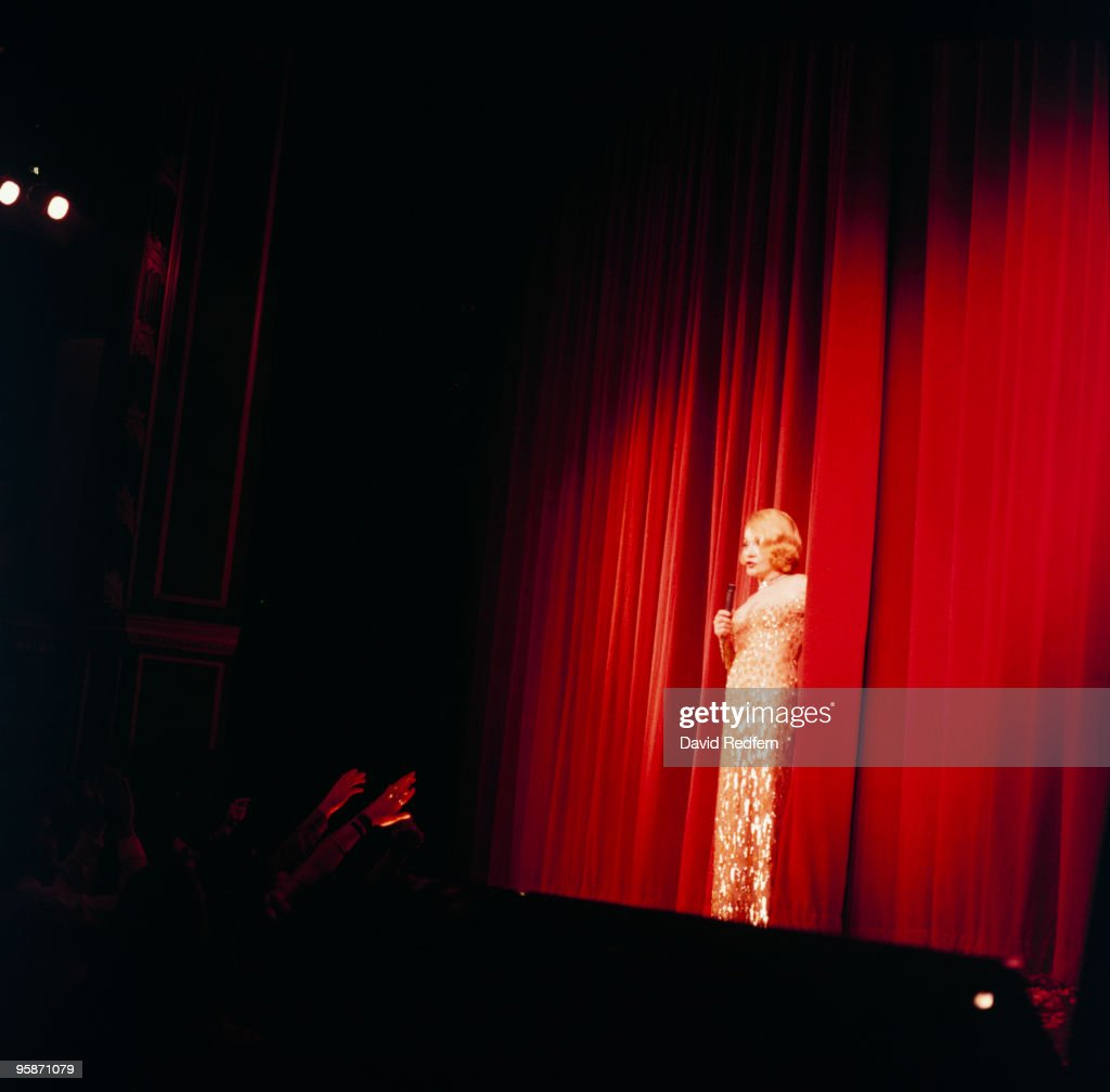 Singer Marlene Dietrich performs on stage in 1975.