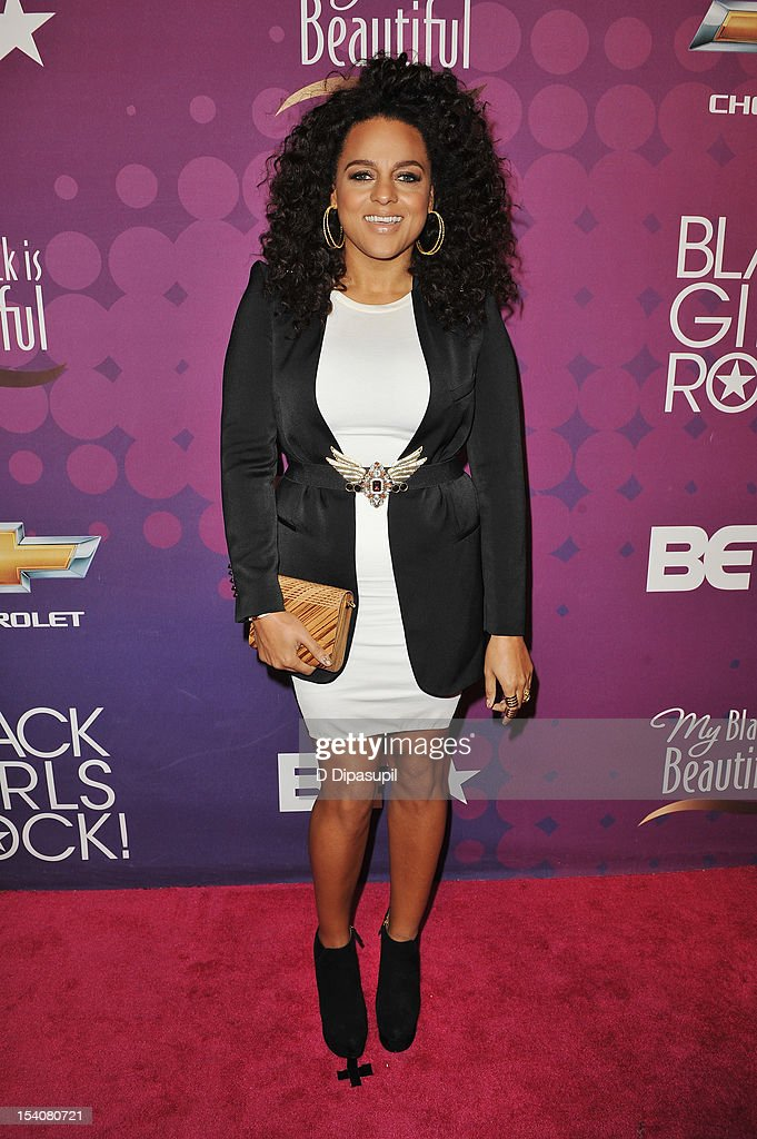 Singer Marsha Ambrosius attends BET's Black Girls Rock 2012 CHEVY Red Carpet at Paradise Theater on October 13, 2012 in New York City.