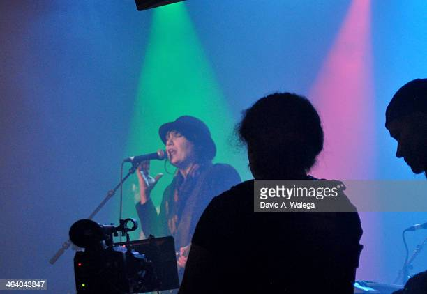 Singer Martha Davis performs with The Motels at Whisky a Go Go on January 19 2014 in West Hollywood California