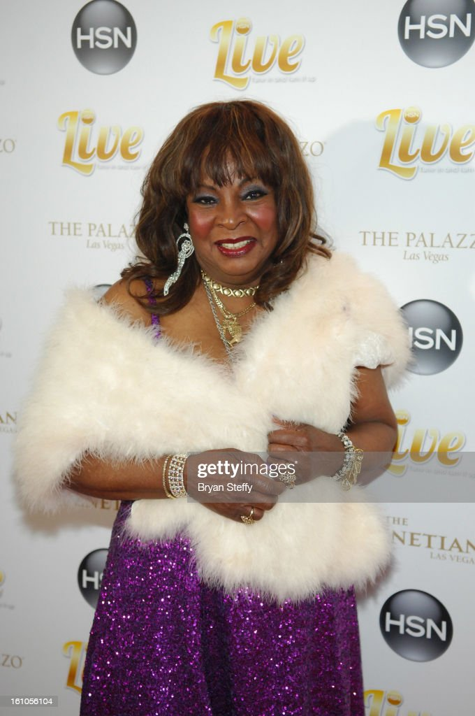 Singer <a gi-track='captionPersonalityLinkClicked' href=/galleries/search?phrase=Martha+Reeves&family=editorial&specificpeople=1298643 ng-click='$event.stopPropagation()'>Martha Reeves</a> arrives at the HSN Live Michael Bolton concert at The Venetian Resort Hotel Casino on February 8, 2013 in Las Vegas, Nevada.
