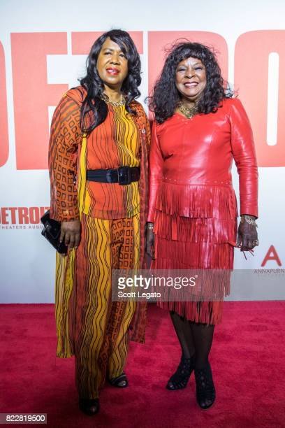 Singer Martha Reeves poses with her daughter at the 'Detroit' world premiere at Fox Theatre on July 25 2017 in Detroit Michigan