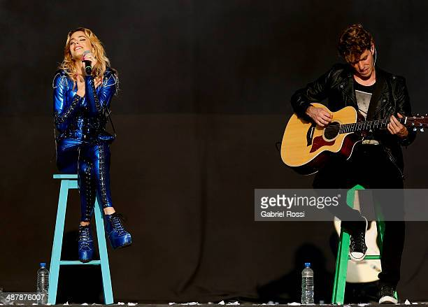 Singer Martina Stoessel leading actress of 'Violetta' performs at the stage during a free show at Monumento de los Espa–noles on May 02 2014 in...