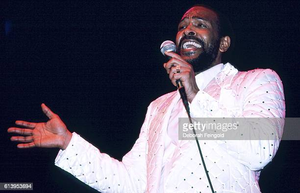 Singer Marvin Gaye final NYC concert at Radio City Music Hall May 1983 New York City New York