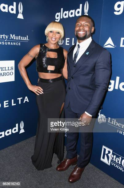 Singer Mary J Blige and actor Trevante Rhodes attend 28th Annual GLAAD Media Awards in LA at The Beverly Hilton Hotel on April 1 2017 in Beverly...