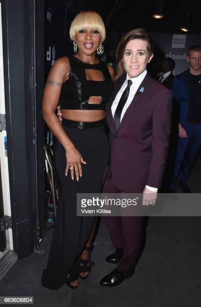 Singer Mary J Blige and host Cameron Esposito attend 28th Annual GLAAD Media Awards in LA at The Beverly Hilton Hotel on April 1 2017 in Beverly...