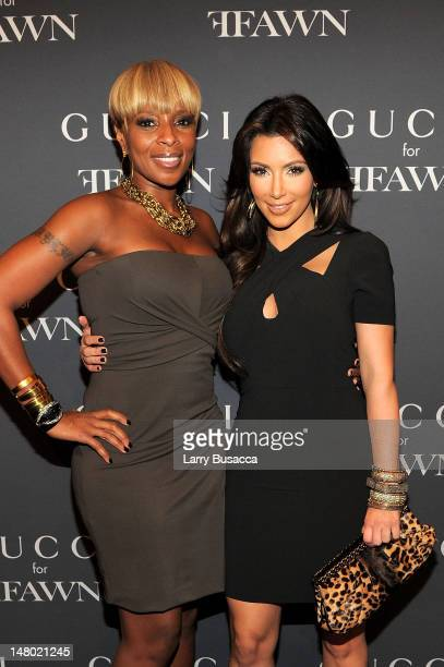 Singer Mary J Blige and TV personality Kim Kardashian attend the Gucci celebration of Fashion's Night Out at Gucci Fifth Avenue on September 10 2010...