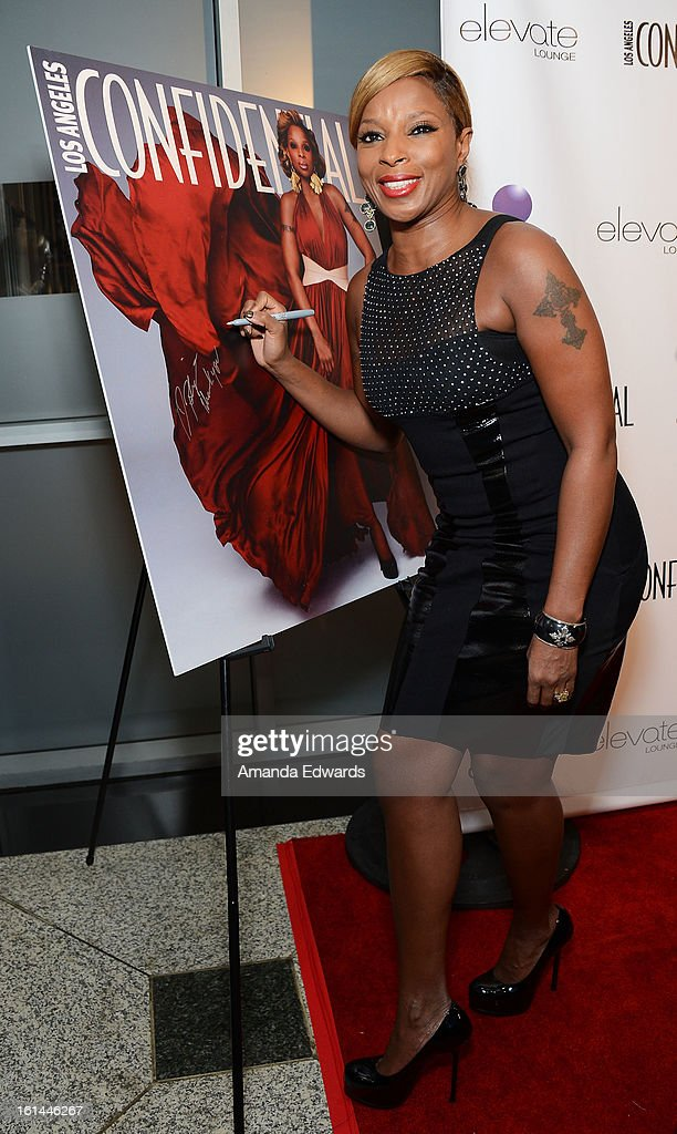 Singer Mary J. Blige arrives at the Los Angeles Confidential and Harmony Project GRAMMY after party honoring Mary J. Blige at Elevate Lounge on February 10, 2013 in Los Angeles, California.