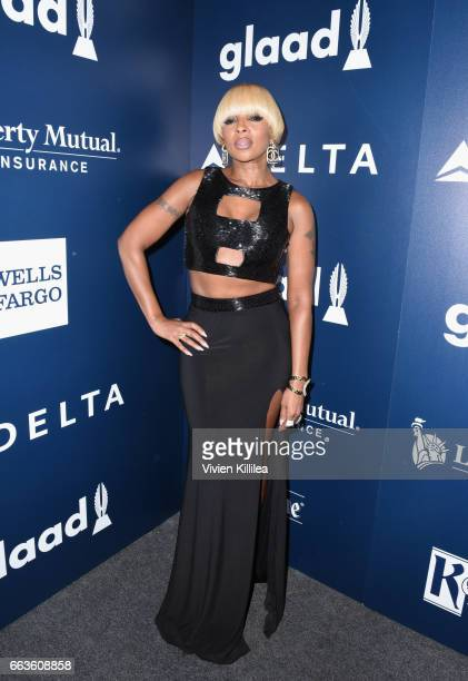 Singer Mary J Blige attends 28th Annual GLAAD Media Awards in LA at The Beverly Hilton Hotel on April 1 2017 in Beverly Hills California