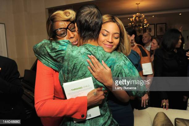 Singer Mary J Blige Erica Reid and singer Beyonce attend Antonio 'LA' Reid's book launch event for his wife Erica Reid's book 'The Thriving Child' at...