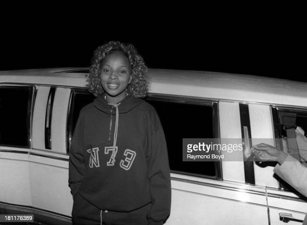 Singer Mary J Blige poses for photos after her performance at the Arie Crown Theater in Chicago Illinois in SEPTEMBER 1992