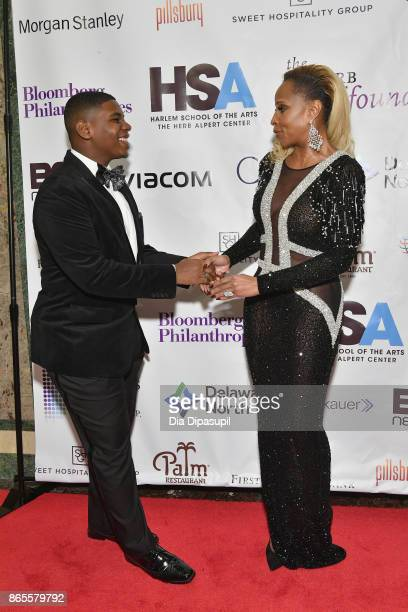 Singer Mary J Blige poses with a student at HSA Masquerade Ball on October 23 2017 at The Plaza Hotel in New York City