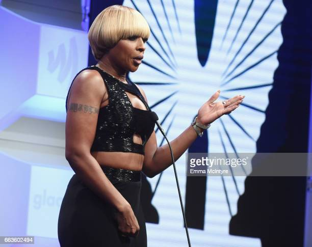 Singer Mary J Blige speaks onstage during the 28th Annual GLAAD Media Awards in LA at The Beverly Hilton Hotel on April 1 2017 in Beverly Hills...