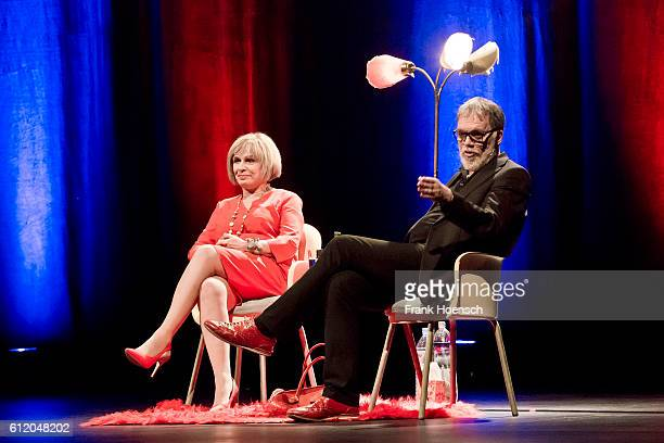 Singer Mary Roos and comedian Wolfgang Trepper perform live during the show 'Nutten Koks und frische Erdbeeren' at the Admiralspalast on September 30...