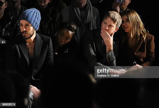 Singer Matt Morris singer Estelle editor Jefferson Hack and EditorinChief French Vogue Carine Roitfeld attend the William Rast Fall 2010 Fashion Show...