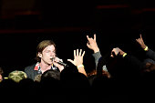 Singer Matt Shultz of Cage the Elephant crowdsurfs while performing at CBS RADIO's third annual 'The Night Before' at ATT Park Presented by...
