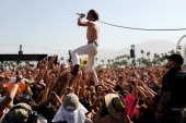 Singer Matt Shultz of Cage the Elephant performs onstage during day 2 of the 2014 Coachella Valley Music Arts Festival at the Empire Polo Club on...