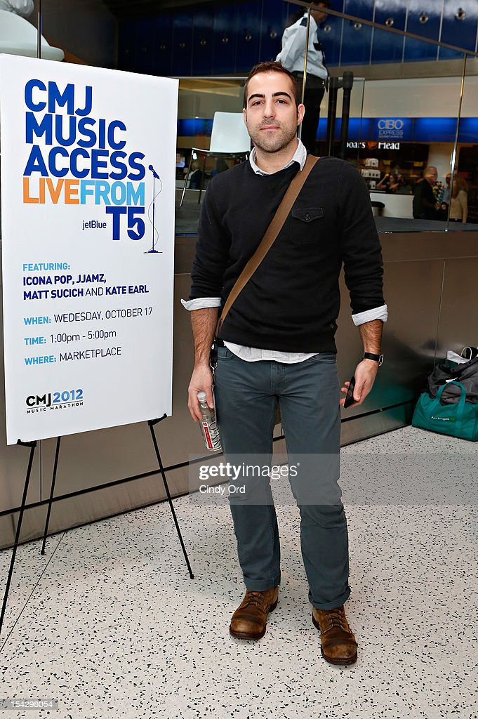 Singer Matt Sucich poses prior to performing at JetBlue's Live From T5 Concert Series - CMJ Music Access Live at John F. Kennedy International Airport on October 17, 2012 in New York City.