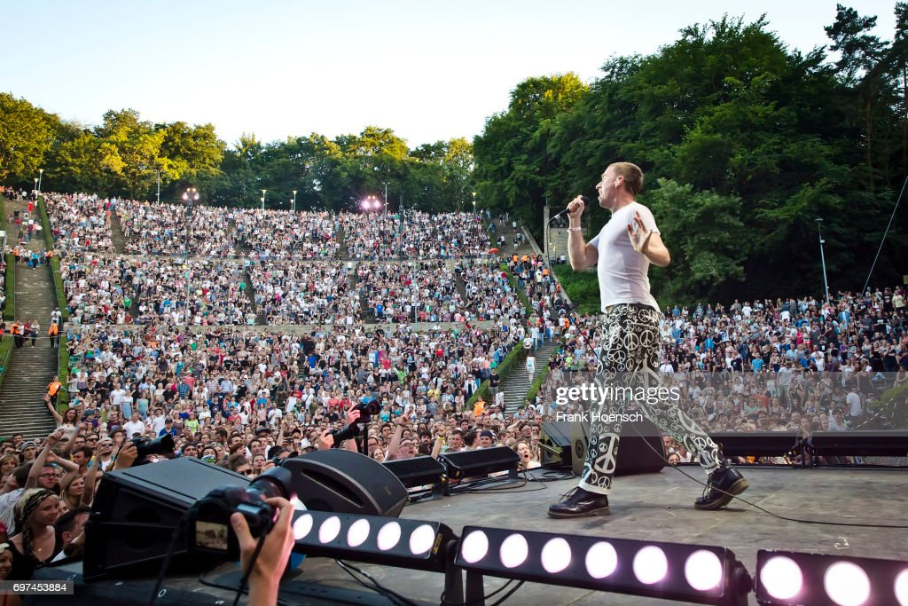 Singer Maurice Ernst of the Austrian band Bilderbuch performs live on stage during the Peace X Peace Festival at the Waldbuehne on June 18, 2017 in Berlin, Germany.