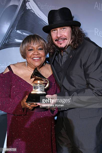 Singer Mavis Staples and Recording Academy Chair George Flanigen backstage during The 53rd Annual GRAMMY Awards PreTelecast held at the Los Angeles...