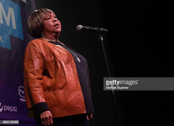 Singer Mavis Staples performs at the premiere of 'Mavis' during the 2015 SXSW Music FIlm Interactive Festival at the Paramount Theatre on March 15...