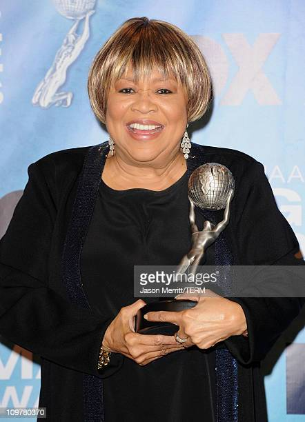 Singer Mavis Staples winner of the award for Outstanding Gospel Album for 'You Are Not Alone' poses in the press room at the 42nd NAACP Image Awards...