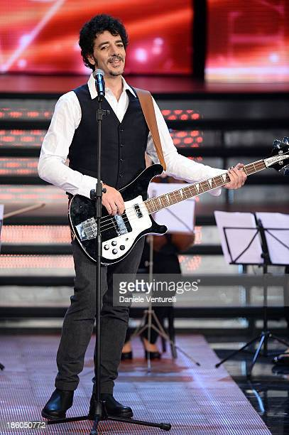 Singer Max Gazze performs on stage during the 2013 Miss Italia beauty pageant at the Pala Arrex on October 27 2013 in Jesolo Italy