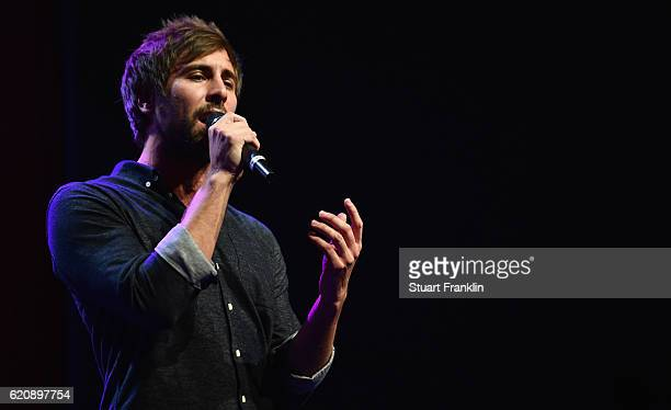 Singer Max Giesinger performs during the ceremonial act of the 42nd DFB Bundestag at Theater Erfurt on November 3 2016 in Erfurt Germany