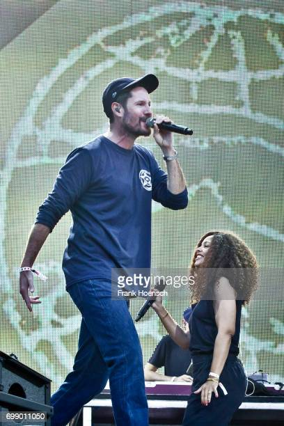Singer Max Herre and Joy Denalane perform live on stage during the Peace X Peace Festival at the Waldbuehne on June 18 2017 in Berlin Germany