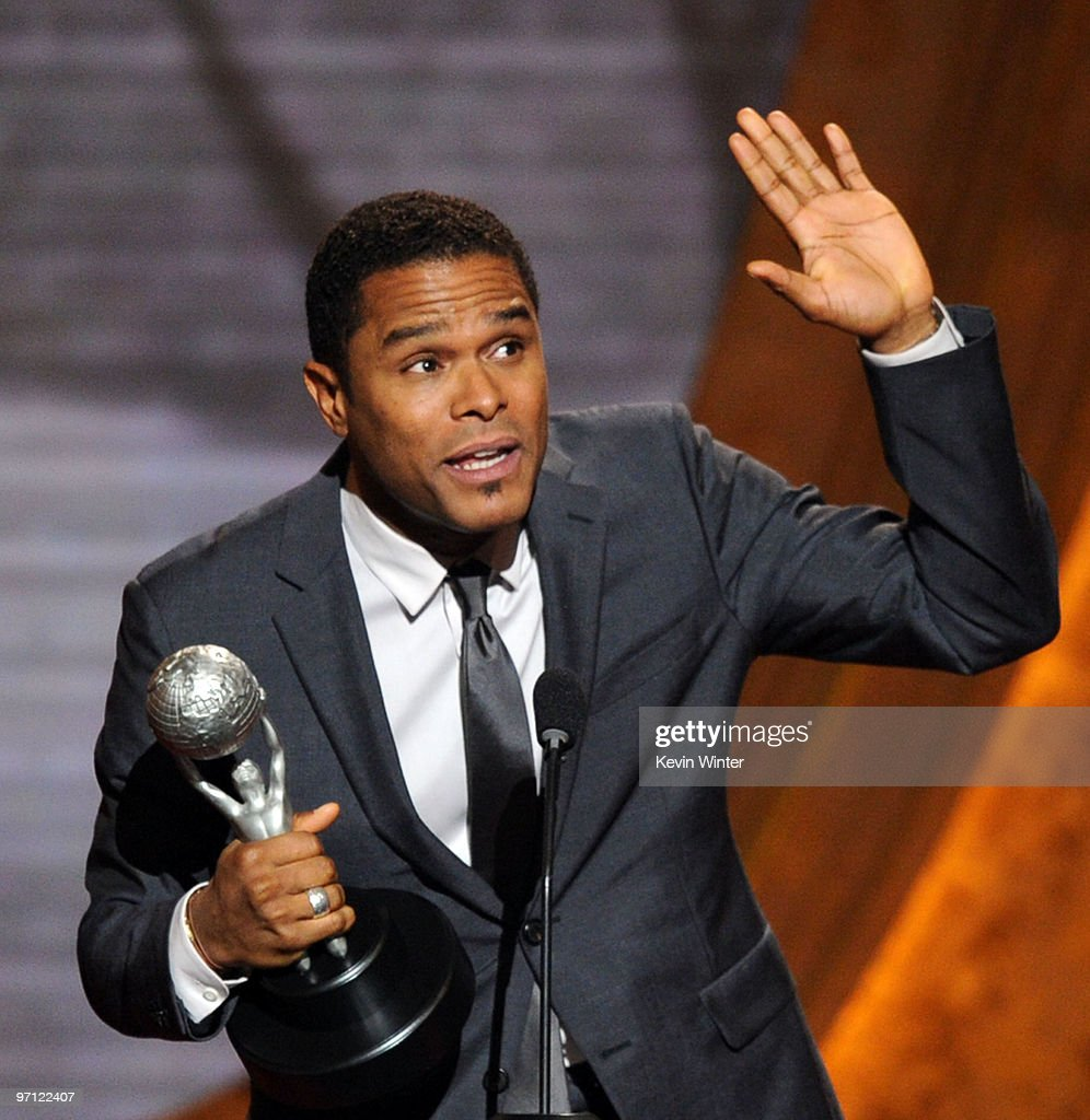 Singer Maxwell accepts the Oustanding Male Artist award onstage during the 41st NAACP Image awards held at The Shrine Auditorium on February 26, 2010 in Los Angeles, California.