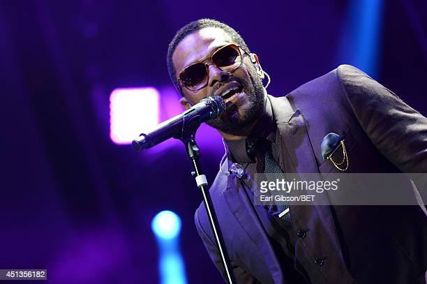 Singer Maxwell performs onstage at the Maxwell Jill Scott Marsha Ambrosius and Candice Glover concert during the 2014 BET Experience At LA LIVE at...