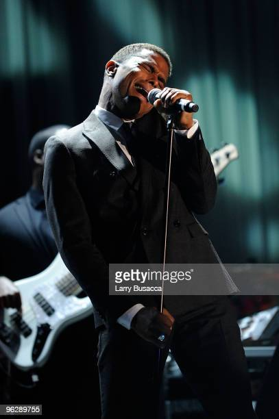 Singer Maxwell performs onstage during the 52nd Annual GRAMMY Awards Salute To Icons Honoring Doug Morris held at The Beverly Hilton Hotel on January...