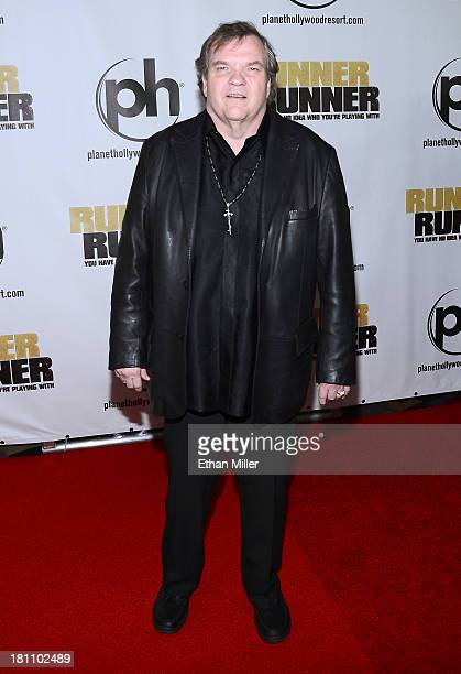 Singer Meat Loaf arrives at the world premiere of Twentieth Century Fox and New Regency's film 'Runner Runner' at Planet Hollywood Resort Casino on...