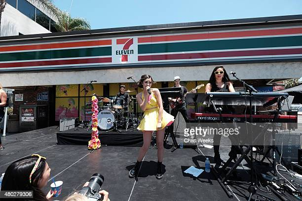 Singer Megan Nicole performs at the 7Eleven 88th birthday celebration at 7Eleven on July 10 2015 in Burbank California