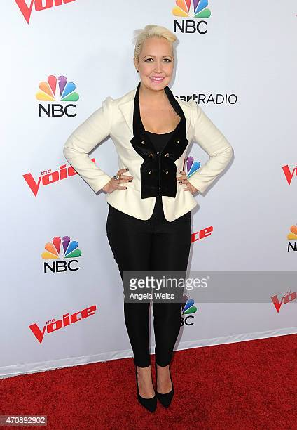 Singer Meghan Linsey arrives at NBC's 'The Voice' Season 8 red carpet event at Pacific Design Center on April 23 2015 in West Hollywood California