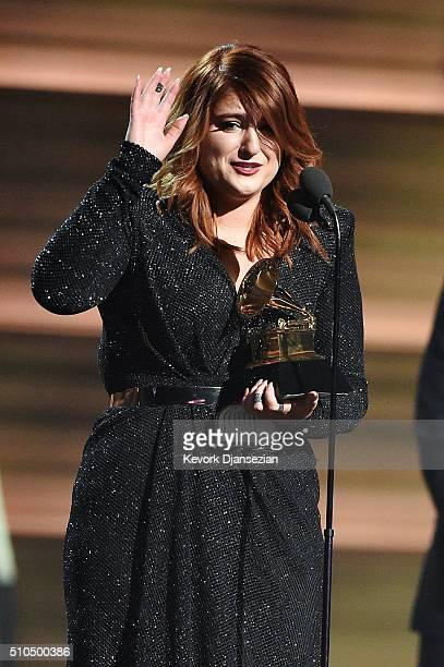 Singer Meghan Trainor accepts the Best New Artist award onstage during The 58th GRAMMY Awards at Staples Center on February 15 2016 in Los Angeles...