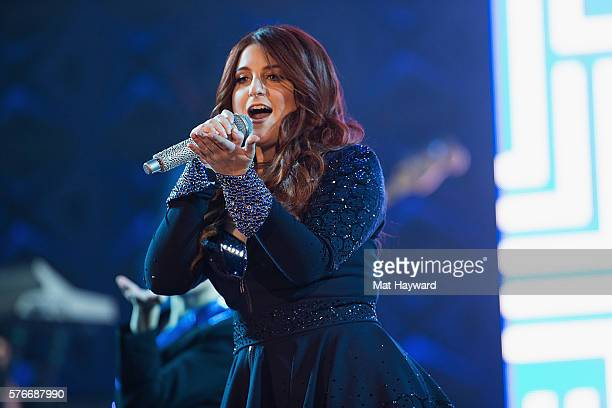 Singer Meghan Trainor performs on stage during the Untouchable Tour at WaMu Theater on July 16 2016 in Seattle Washington