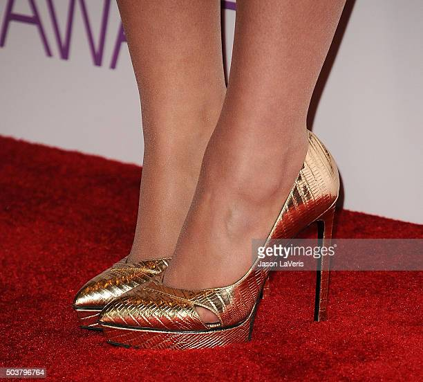Singer Meghan Trainor shoe detail poses in the press room at the 2016 People's Choice Awards at Microsoft Theater on January 6 2016 in Los Angeles...