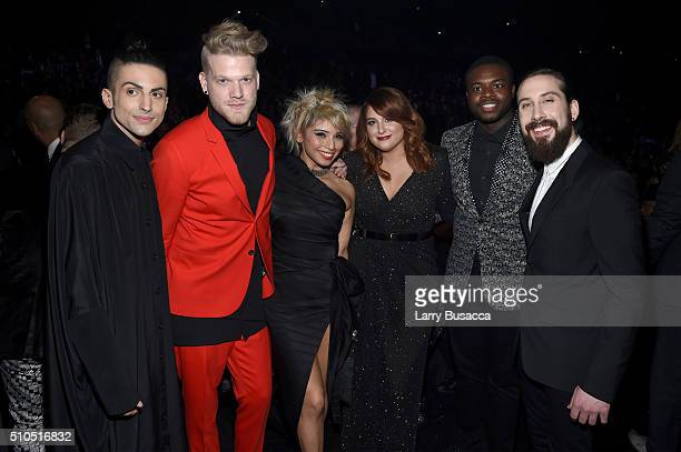 Singer Meghan Trainor with singers Mitch Grassi Scott Hoying Kirstin Maldonado Kevin Olusola and Avi Kaplan of Pentatonix attends The 58th GRAMMY...