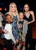 Singer Meghan Trainor with Zahara Marley JoliePitt Shiloh Nouvel JoliePitt and actress/director Angelina Jolie during Nickelodeon's 28th Annual Kids'...