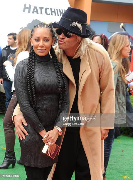 Singer Mel B and Stephen Belafonte arrive at the premiere of Sony Pictures' 'The Angry Birds Movie' at Regency Village Theatre on May 7 2016 in...