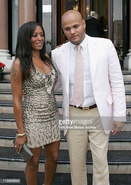 Singer Mel B and Stephen Belafonte outside the Hotel de Paris on June 11 in Monte Carlo Principality of Monaco