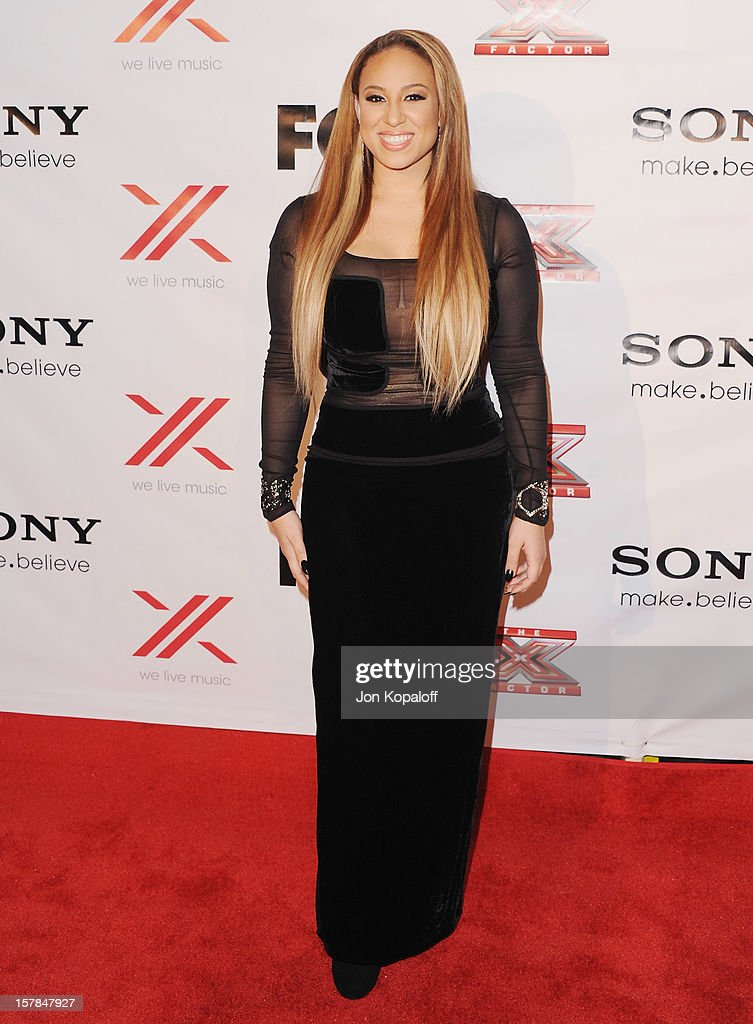 Singer Melanie Amaro arrives at The X-Factor Viewing Party at on December 6, 2012 in Los Angeles, California.