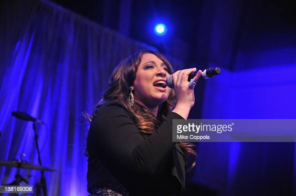 Singer Melanie Amaro performs during Pepsi PreSuper Bowl Party at Indiana State Museum on February 3 2012 in Indianapolis Indiana